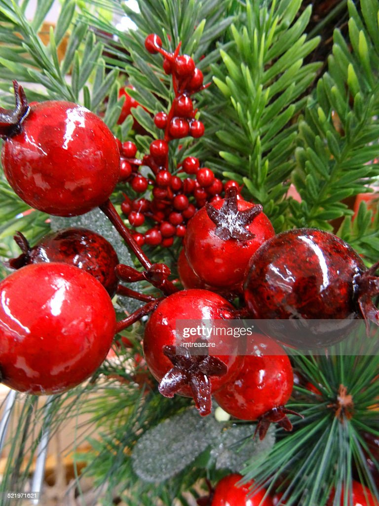 artificial christmas tree decorations red holly berries conifer foliage spruce needles - Red Berry Christmas Tree Decorations