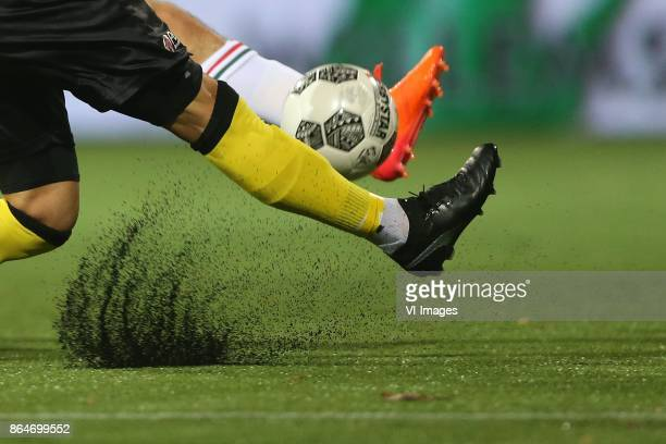 artificial grass rubber korrels kunstgras kunst gras voetbal during the Dutch Eredivisie match between VVV Venlo and ADO Den Haag at Seacon stadium...