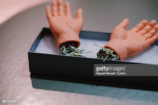 Artificial Hands In Box On Table