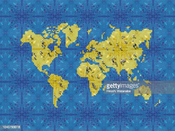 artificial intelligence and people walking on the world map made of computer circuit board - global village stock pictures, royalty-free photos & images