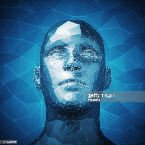 kunstmatige intelligentie en technische achtergrond - menselijk hoofd stockfoto's en -beelden