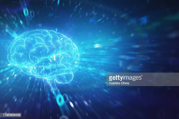 artificial intelligence brain and binary data with speed motion - brain  stock pictures, royalty-free photos & images
