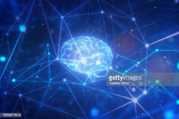 artificial intelligence brain in network - artificial intelligence stock pictures, royalty-free photos & images