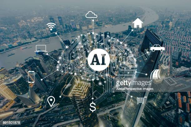 artificial intelligence, city of shanghai - ai stock photos and pictures
