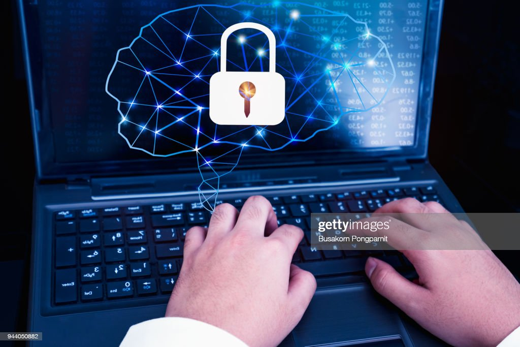 Artificial intelligence concept with technology and businessman : Stock Photo