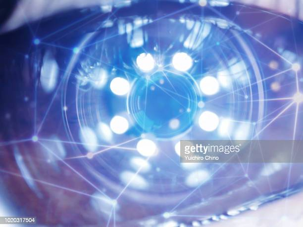 artificial intelligence data over the eye - eyesight stock photos and pictures
