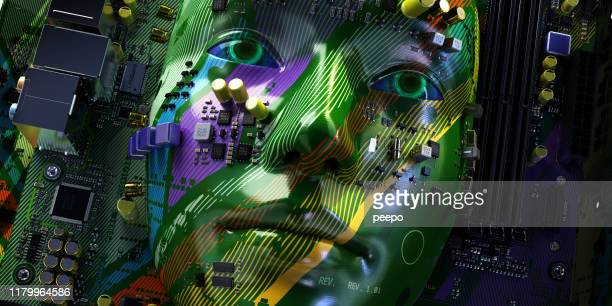 artificial intelligence head formed from computer printed circuit board electronics - neuroscience stock pictures, royalty-free photos & images