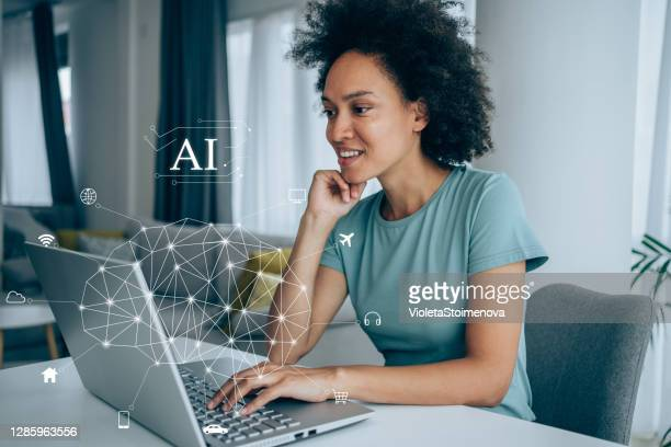 artificial intelligence network concept. - artificial intelligence stock pictures, royalty-free photos & images