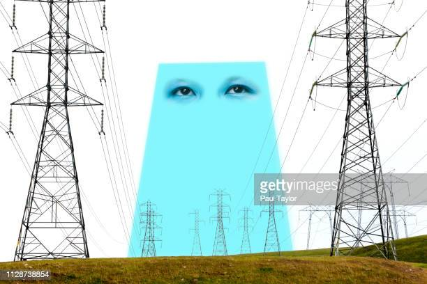 artificial intelligence powerlines - avatar foto e immagini stock
