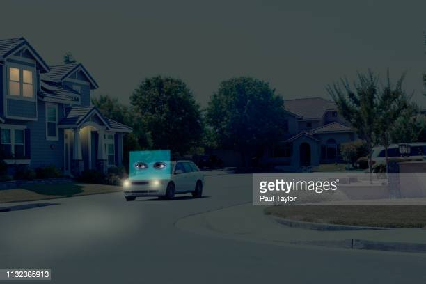 artificial intelligence self-driving car - driverless car stock pictures, royalty-free photos & images
