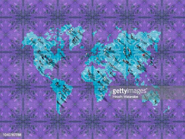 artificial intelligence walking on the world map made of computer circuit board - financial technology imagens e fotografias de stock