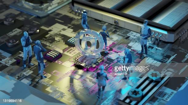 人工知能ワーキングチャットボットは、cicuitボードを電子メール - 'at' symbol ストックフォトと画像
