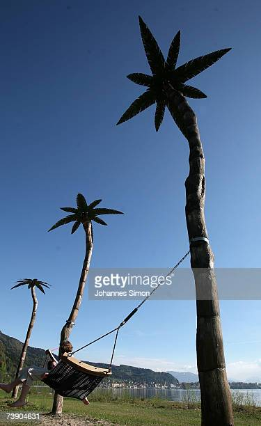 Artificial palms are seen at the beach of Lake Constance on April 17 2007 in Lindau Germany The unseasonably warm weather has heralded the start to...