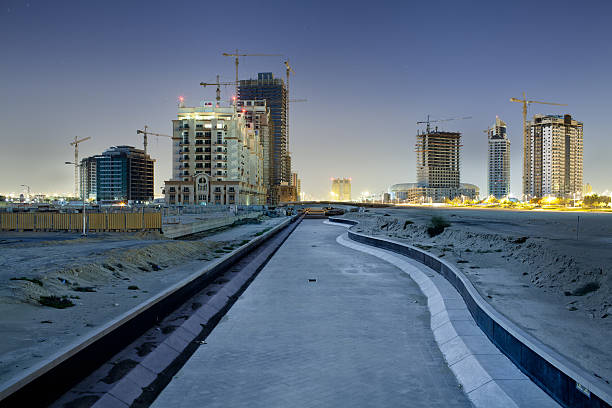Artificial river with large building sites