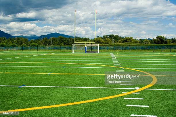 artificial sport turf - goal post stock photos and pictures
