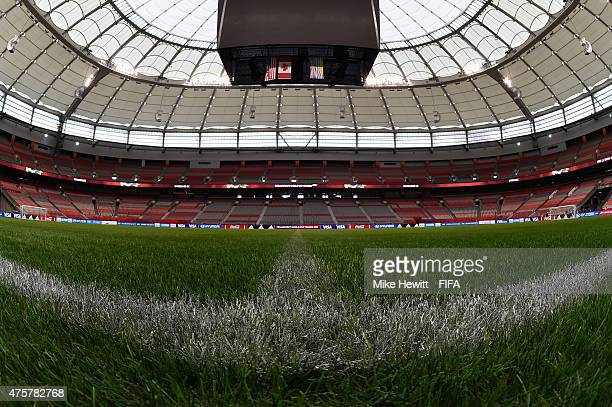 Artificial turf covers the pitch during a Football Turf/GLT media event at BC Place Stadium on June 3 2015 in Vancouver Canada