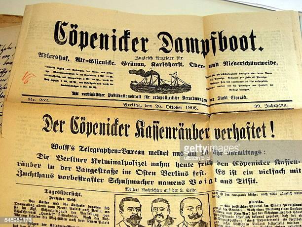 """Artikel in der Zeitung """"Cöpenicker Dampfboot"""" in dem über die Verhaftung Wilhelm Voigts berichtet wird; Heimatmuseum Berlin - Köpenick- 2002"""