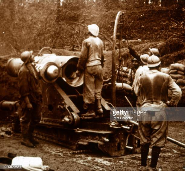 Artillery Bois du Chatelet France circa 1914circa 1918 Photograph from a series of glass plate stereoview images depicting scenes from World War I...