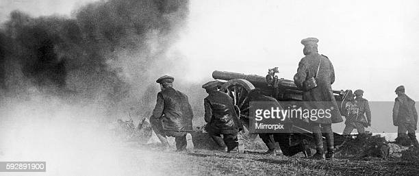 Artillery seen here in action shelling Austrian and Bulgarian positions from Salonika. April 1916