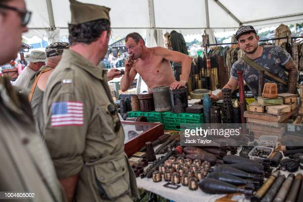 Artillery shells and grenades on display at a stall during the annual War and Peace Revival show at Hop Farm Country Park on July 24 2018 in...