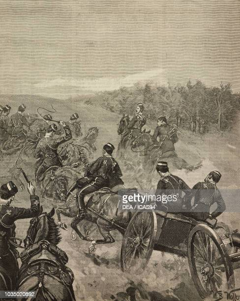 Artillery taking up position during the autumn Cavalry manoeuvres on the Berkshire Downs, United Kingdom, engraving from The Illustrated London News,...