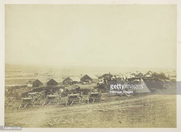 Artillery Waggons, Balaklava in the Distance, 1855. A work made of salted paper print, plate 4 from the album 'photographs taken in the crimea' ....