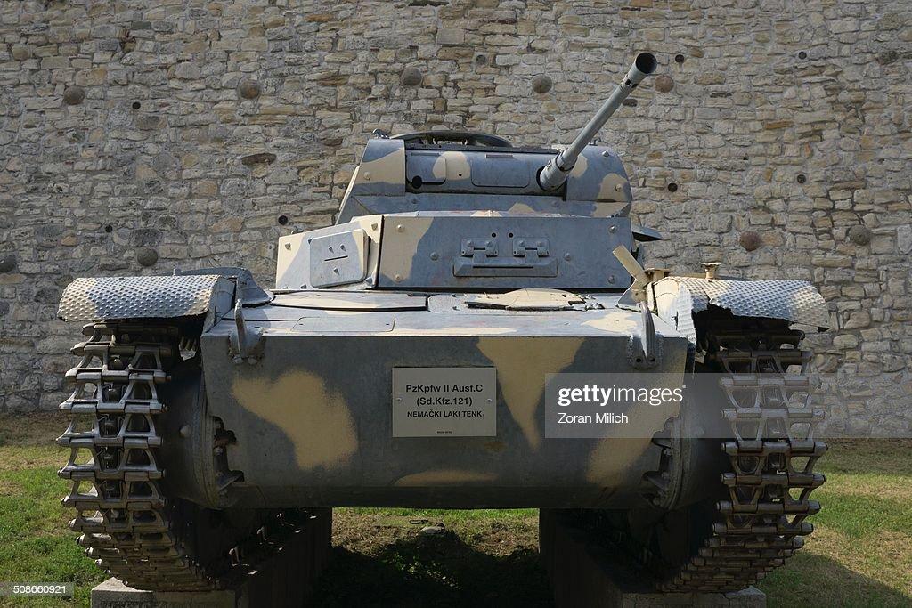 Artillery World War German tank on the grounds of the Belgrade Fortress Kalimegdan Park in the Belgrade Military Museum. Belgrade, Republic of Serbia.