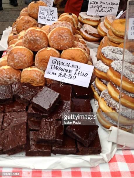 Artisan desserts stall at Notting Hill Market, London, England