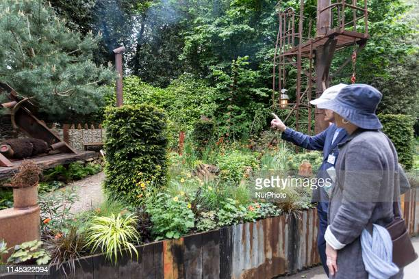Artisan instalations in Royal Hospital Chelsea gardens as the RHS Chelsea Flower Show opens in London England on May 20 2019