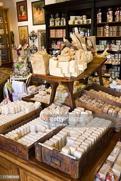 Artisan soaps on sale at Martin de Candre specialist savon shop Mestre at Fontevraud L'Abbaye Loire Valley France