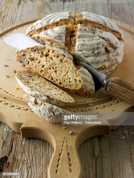 Artisan sour dough wholemeal seed bread with white, malted rye flour