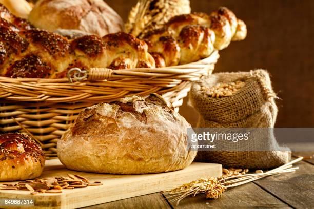 Artisanal bakery:  Fresh mixed Bun, rolls and Sourdough Bread