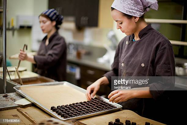 artisanal chocolate production - chocolate factory stock photos and pictures