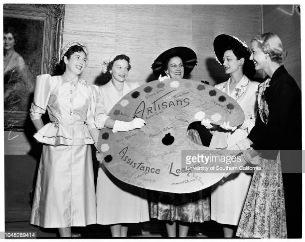 Artisans, 10 June 1952. Mrs Willard J Puls;Mrs Lee Ringer;Mrs John Fritcher;Mrs Durner McKinley;Miss Anita Louise. .;Caption slip reads:...