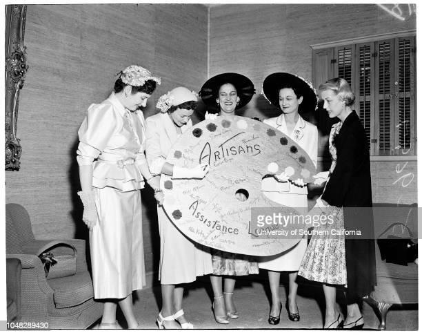 Artisans, 10 June 1952. Mrs Willard J Puls;Mrs Lee Ringer;Mrs John Fritcher;Mrs Durner McKinley;Miss Anita Louise. .;Caption slip reads:...