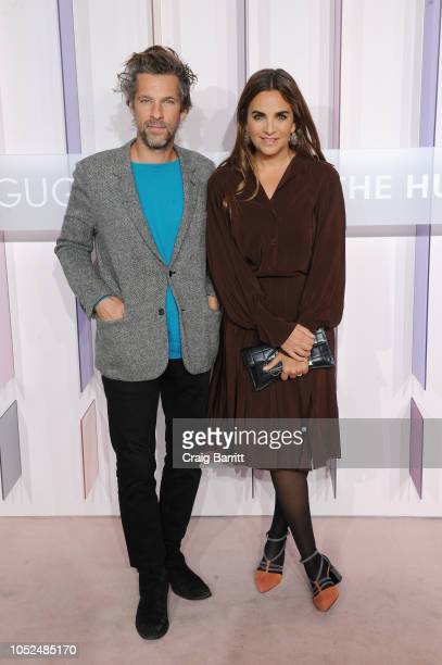 Artist Aaron Young and Entrepreneur Laure Heriard Dubreuil attend the Hugo Boss Prize 2018 Artists Dinner at the Guggenheim Museum on October 18 2018...