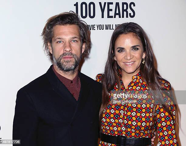 Artist Aaron Young and fashion entrepreneur Laure HeriardDubreuil attend LOUIS XIII toasts to '100 Years The Movie You Will Never See' at the Sheats...