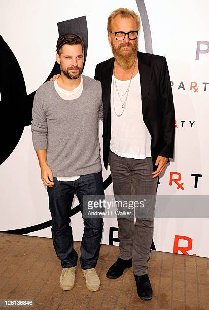 Artist Aaron Young and Johan Lindberg attends the annual RxART PARTY sponsored by CHANEL Beaute at Highline Stages on September 22 2011 in New York...