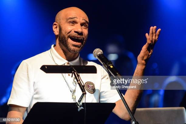DJ Artist Actor and Musician Goldie performs on stage with the Heritage Orchestra for James Lavelle's Meltdown at the Royal Festival Hall on June 21...