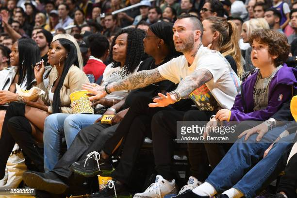 Artist, Adam Levine attends a game between the Los Angeles Lakers and the Dallas Mavericks on December 1, 2019 at STAPLES Center in Los Angeles,...