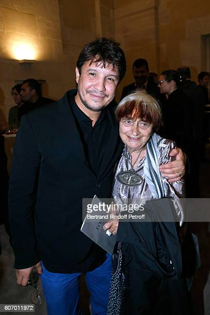 Artist Adel Abdessemed and photographer Agnes Varda attend the 4O Rue de Sevres Preview at the Head Offices of Both Kering and Balenciaga building...