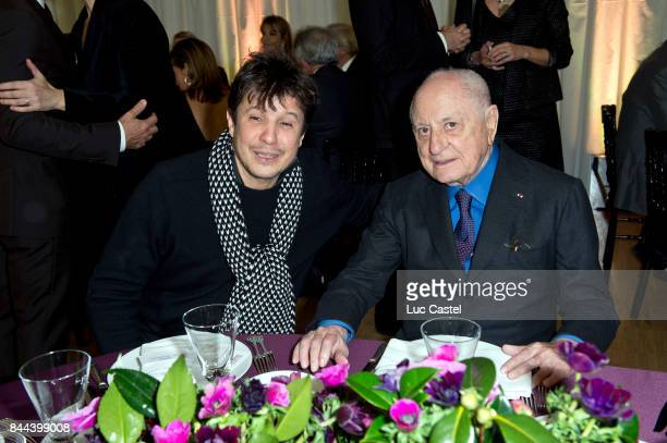 Artist Adel Abdessemed and Pierre Berge attend the Dinner of the 'Societe des Amis du Musee National d'Art Moderne du Centre Pompidou' on January 20...