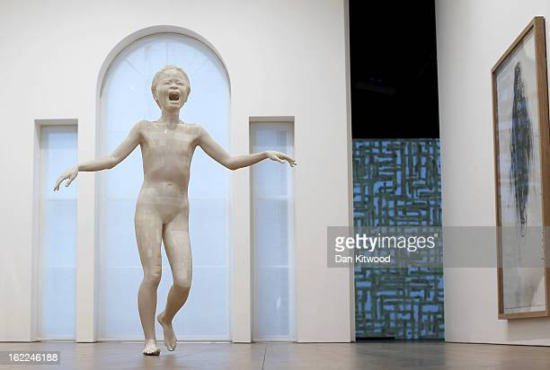 Artist Adel Abdessemed's sculpture entitled 'Cri' 2013 stands at the David Zwirner Gallery on February 21 2013 in London England The piece is made...