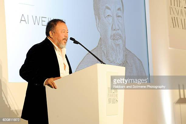 Artist Ai Weiwei accepts an award onstage at the WSJ Magazine 2016 Innovator Awards at Museum of Modern Art on November 2 2016 in New York City