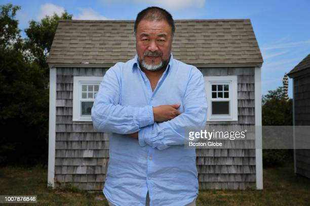 Artist Ai Weiwei poses for a portrait while visiting Truro MA on July 21 2018 Weiwei was on Cape Cod to receive the Distinguished Artistic...