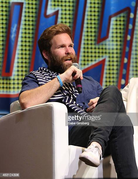 Artist Alec Egan speaks on stage during the 13th annual Star Trek convention at the Rio Hotel Casino on August 3 2014 in Las Vegas Nevada