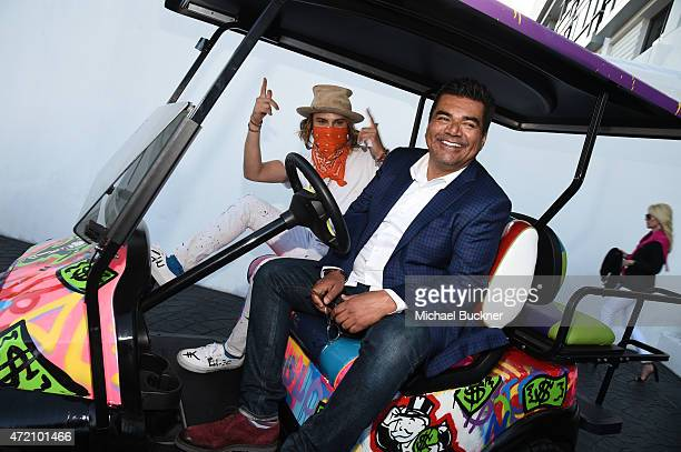 Artist Alec Monopoly and Comedian George Lopez attend the 8th Annual George Lopez Celebrity Golf Classic PreParty at the SLS Hotel on May 3 2015 in...