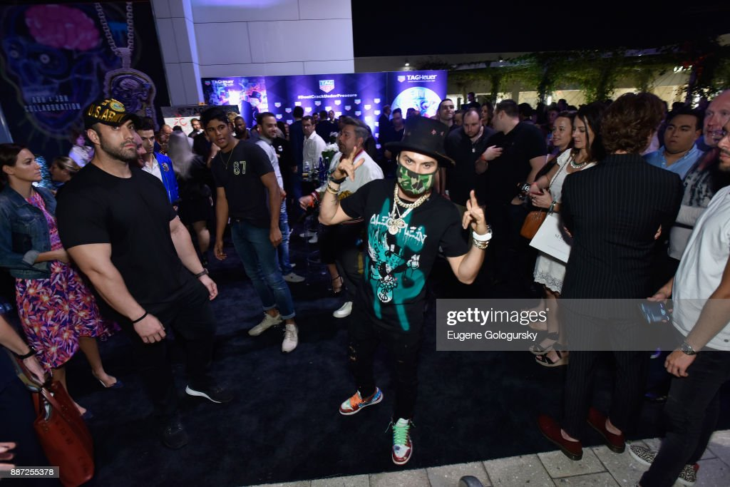 Artist Alec Monopoly attends Art Basel Miami Beach pre-show with TAG Heuer Art Provocateur Alec Monopoly at Miami Design District on December 6, 2017 in Miami, Florida.
