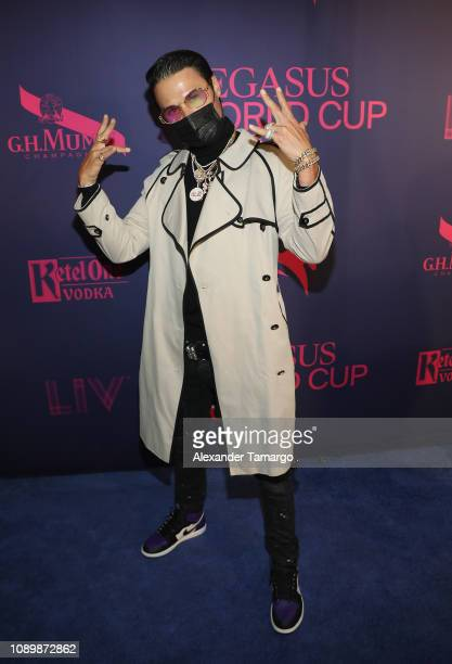 Artist Alec Monopoly attends the 2019 Pegasus World Cup at Gulfstream Park on January 26 2019 in Hallandale Florida