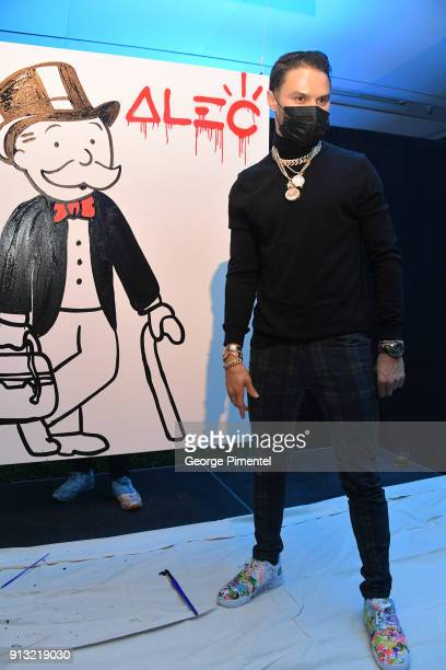 Artist Alec Monopoly celebrates The 5 year Anniversary Of The Concierge Club at The Globe and Mail Centre on February 1 2018 in Toronto Canada
